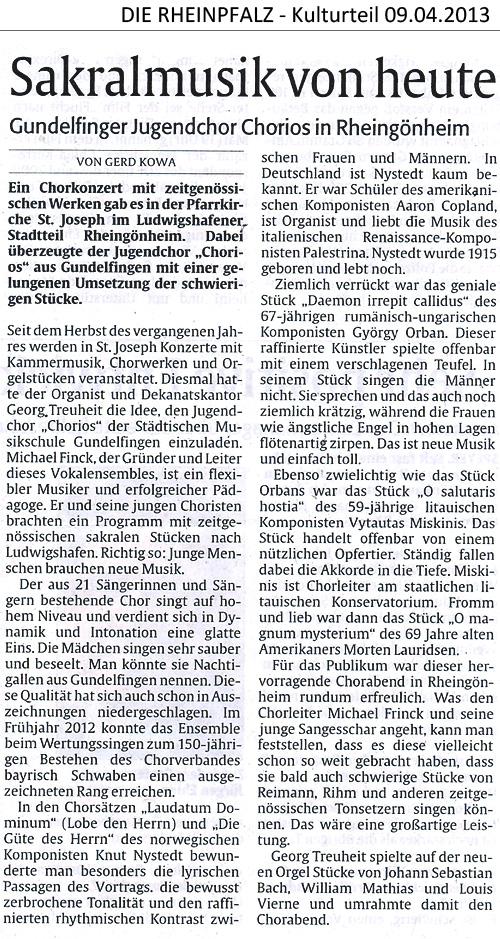 CHORios in Ludwigshafen/Mannheim - PRESSE